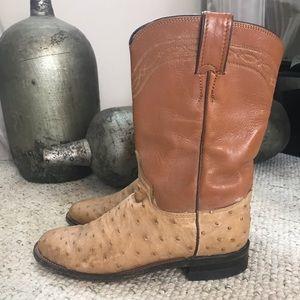 Justin Tan Ostrich Boots